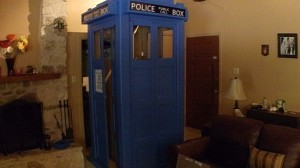 TARDIS took damage, now have to rework corner hinges, replace windows, and worry about repainting.