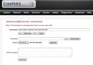 freenas executing replace