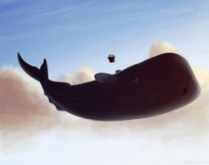 This whale is very confused. So is the petunia.